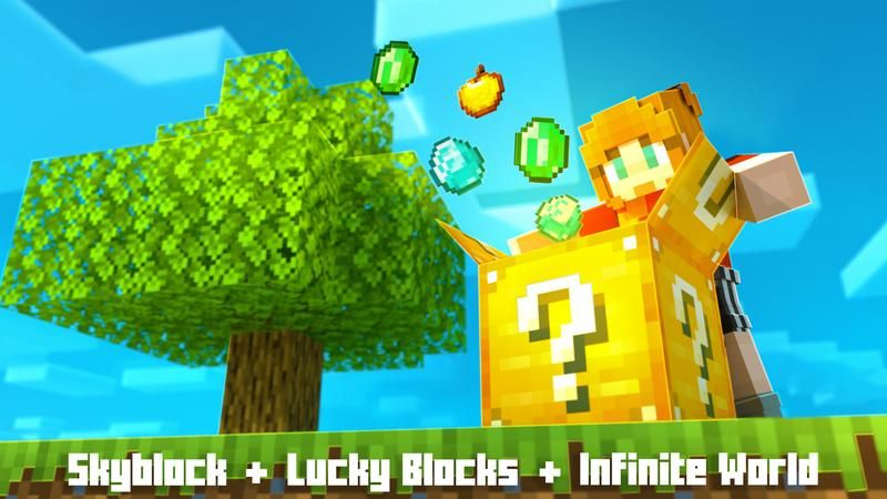 Infinity Lucky Block Skyblock on the Minecraft Marketplace by Cubed Creations